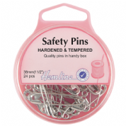 Hemline Safety Pins - 38mm long - Nickel - 24 pack